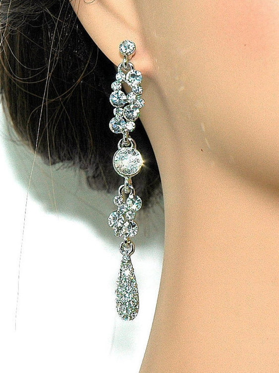 15 Off Clear Dangle Earrings Bridal Rhinestone Party Bridesmaids Gift